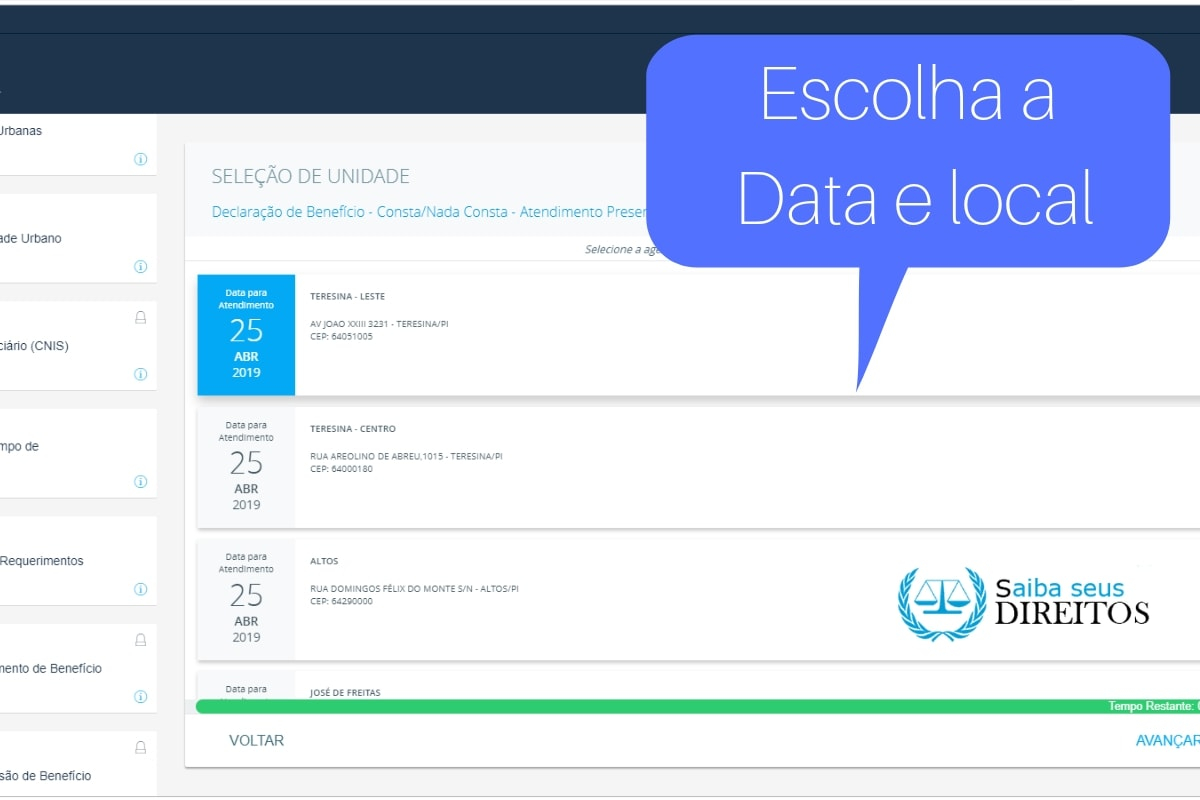 data e local do agendamento