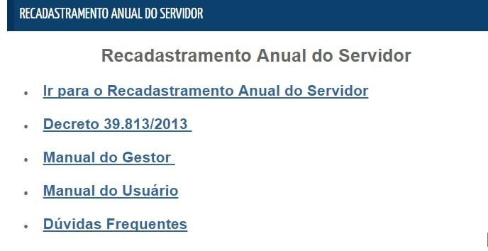 recadastramento anual do servidor