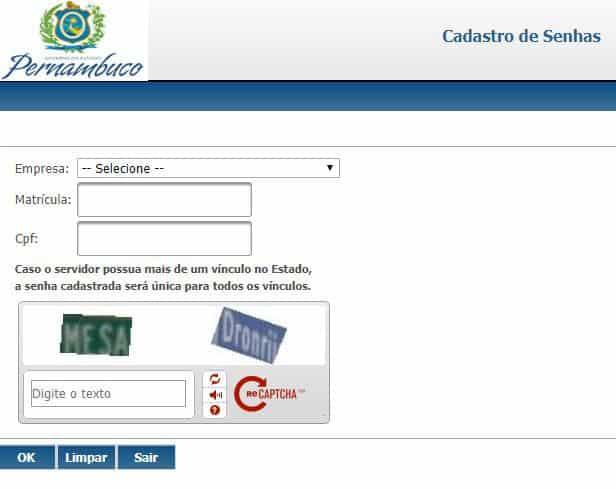Senha portal servidor de pernambuco